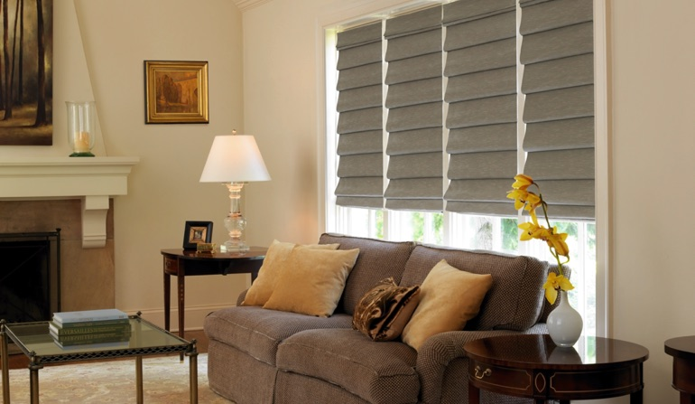 Roman Shades In Family Room