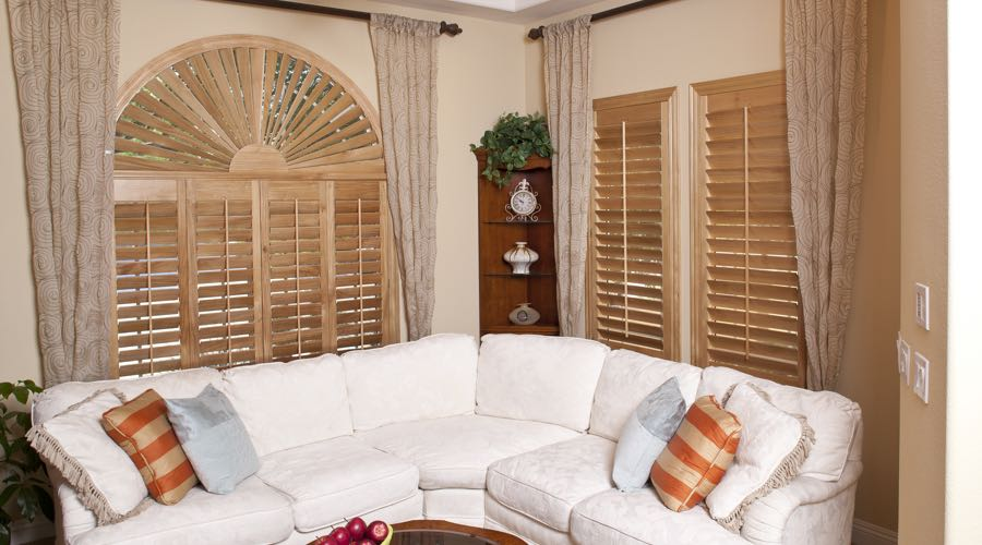 Arched Ovation Wood Shutters In Fort Myers Living Room