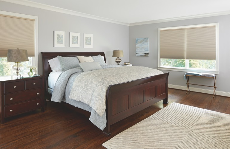 Beige shades in a Fort Myers bedroom.