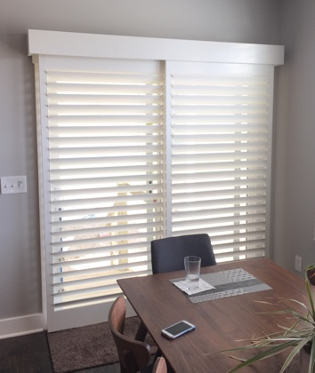 Fort Myers white sliding door shutters