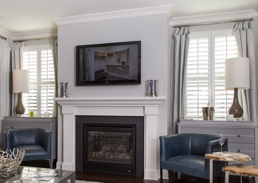 tv room Fort Myers faux wood shutters
