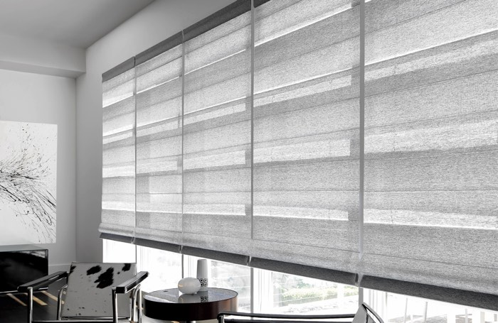 Light shades covering wide business window