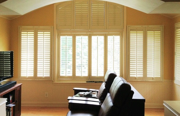 Fort Myers plantation shutters in entertainment room