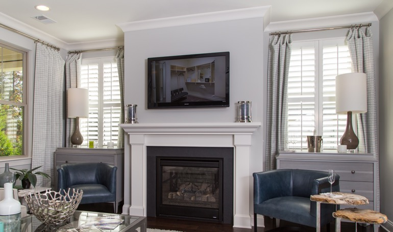 Fort Myers mantle with plantation shutters.