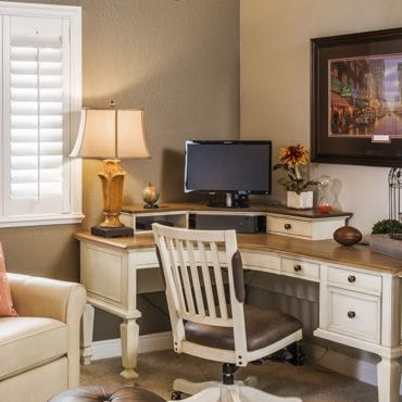 Fort Myers home office plantation shutters.