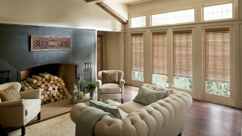 Fort Myers fireplace with blinds