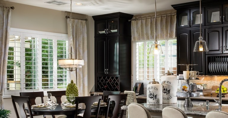 Fort Myers kitchen dining room with plantation shutters.