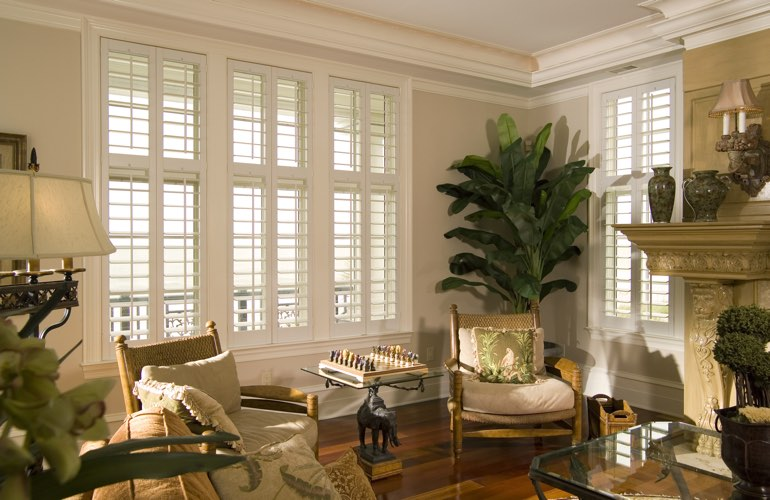 Living Room in Fort Myers with interior plantation shutters.