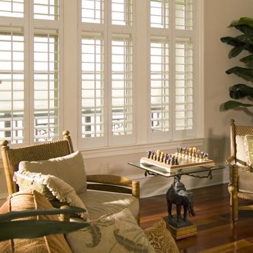 Fort Myers living room interior shutters.
