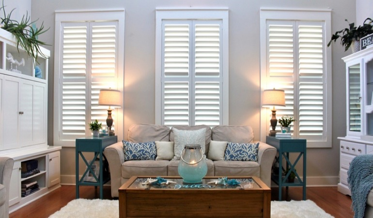 Fort Myers designer living room with white shutters