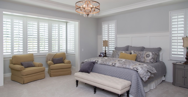 Interior shutters in Fort Myers bedroom.