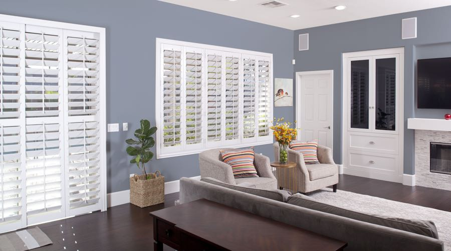 Faux Wood Shutters In modern Fort Myers Living Room
