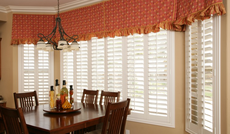 White shutters in Fort Myers dining room.