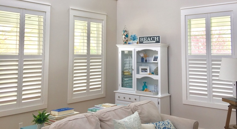 faux wood shutters in Fort Myers sunroom