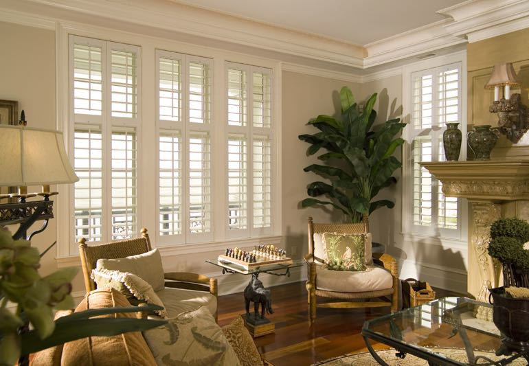 Study Interior With Hardwood Floors And Plantation Shutters