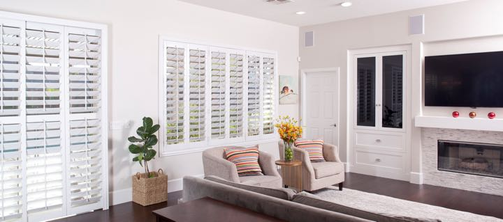 Fort Myers Living Room In White With Plantation Shutters