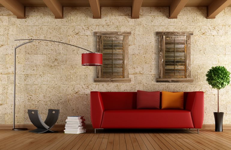 Reclaimed Wood Shutters In A Fort Myers Living Room
