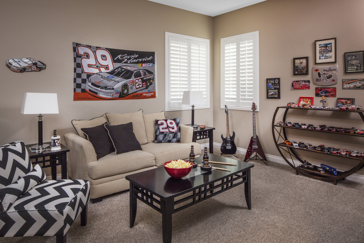 Fort Myers man cave with shutters
