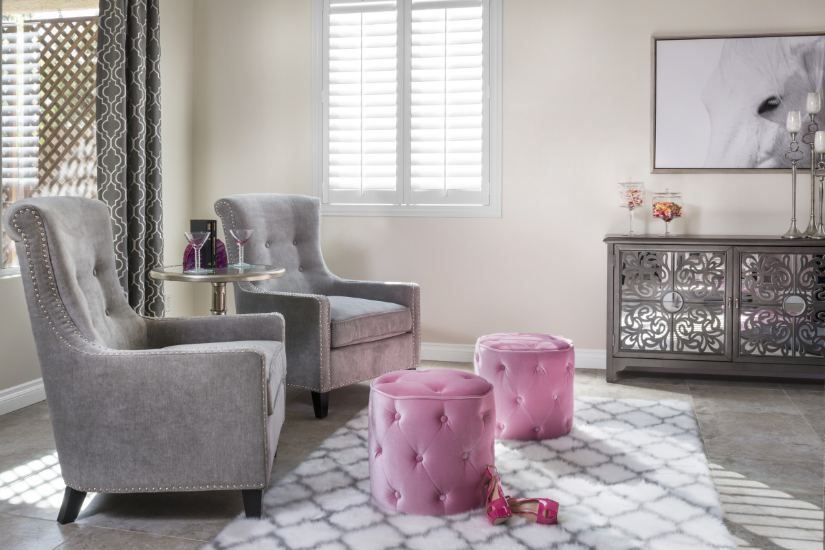Fort Myers pink living room with shutters