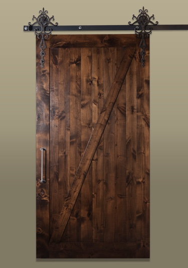 Rustic style sliding barn door with dark stain