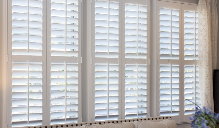 Faux wood plantation shutters in Fort Myers