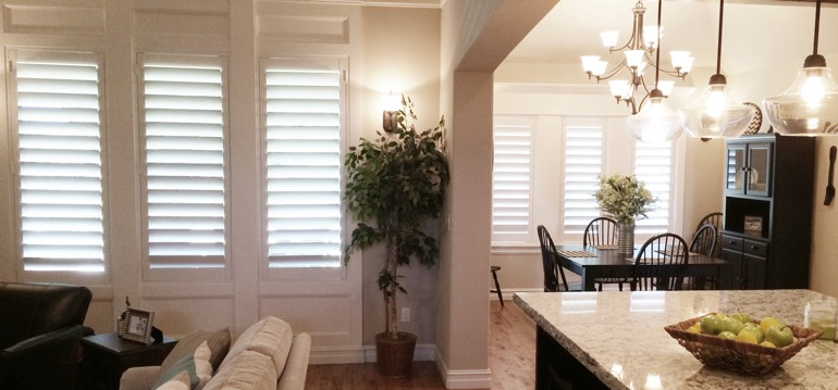 Fort Myers shutters in dining room and great room