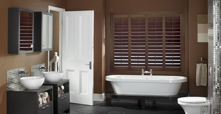 Fort Myers bathroom shutters wood stain