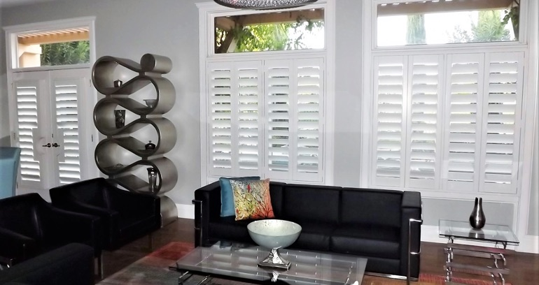 Fort Myers DIY shutters in living room.