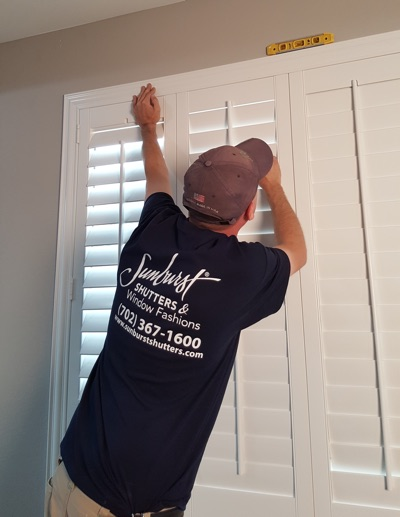 Shutter installation in Fort Myers bedroom.