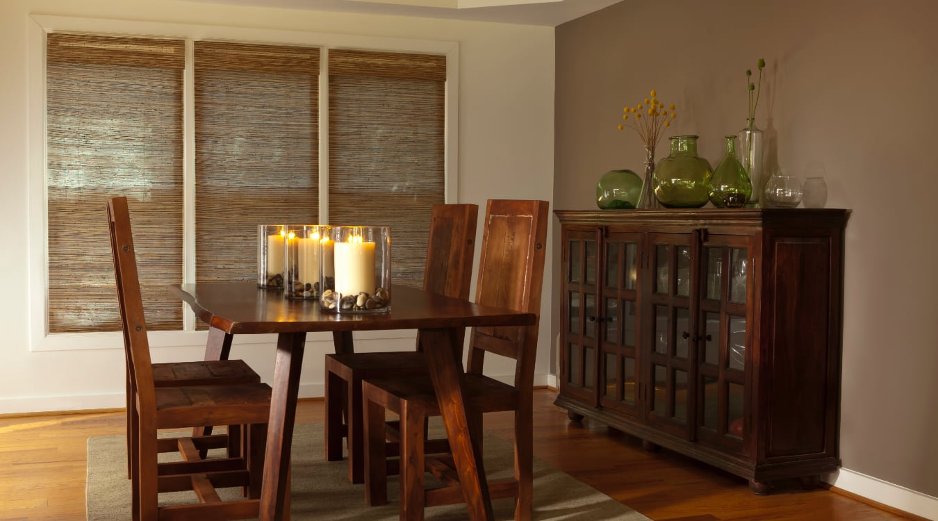 Woven shutters in a Fort Myers dining room.