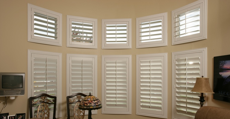 Bay window shutters Fort Myers home office
