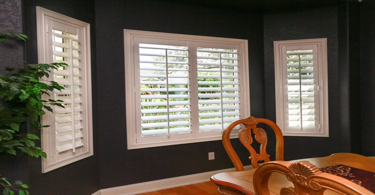 Beautiful Polywood Plantation Shutters In Dark Green Dining Room