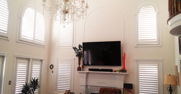 tall windows with shutters Fort Myers great room