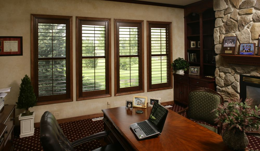 Natural Wood Shutters In A Fort Myers Office At Home.