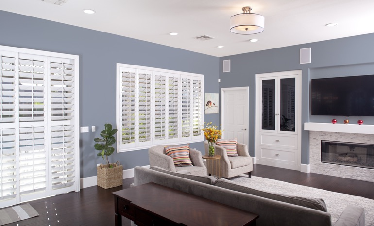 Plantation Shutters In A Fort Myers Living Room.