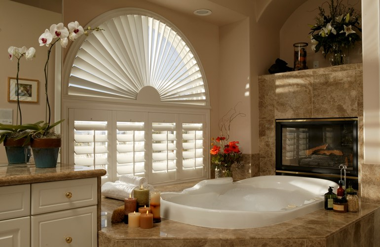 Our Professionals Installed Shutters On A Sunburst Arch Window In Fort Myers, FL