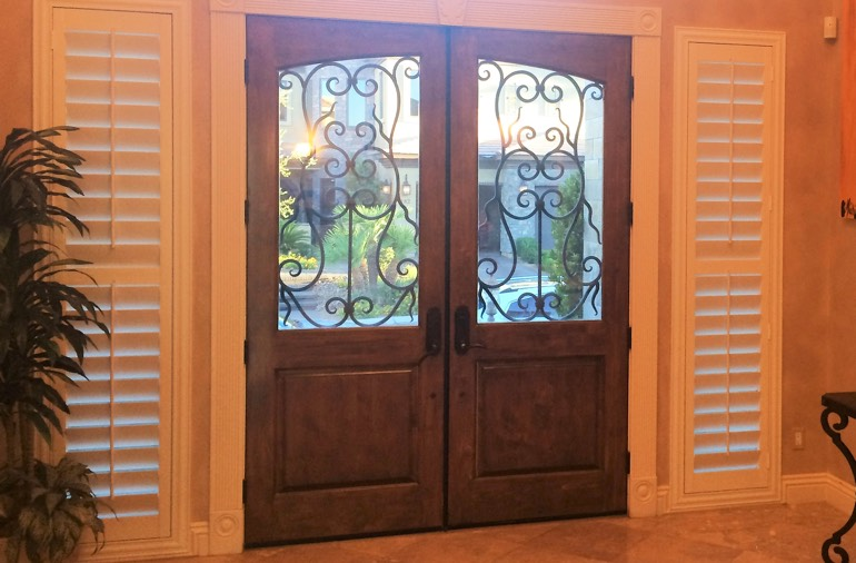 Sidelight window shutters in Fort Myers home
